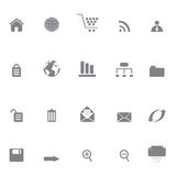 Internet or web site icons. Internet and web site icon set in grayscale Stock Image