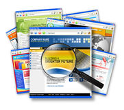 Internet Web Site Search Collage. A stack of internet websites with a search magnifying glass on top. Use it to represent business communication, search