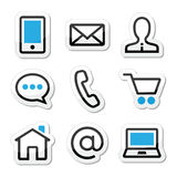 Contact web page  stroke icons set. Internet website blue and black labels set isolated on white Stock Images