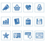 Internet and website icon I. A set of web icons with light reflections Stock Photography