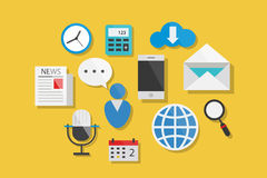 Internet and Website Icons Flat Design Vector Illustration Element Icons Set Stock Photo