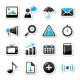 Internet website icons set styled as labels - mail. Blue and black shiny labels for website Stock Photography