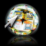Internet Website Search with Arrow Cursor. An abstract internet ball with websites spinning for speed. There is an arrow pointing for a search concept Royalty Free Stock Image