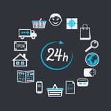 Internet website store open 24 hours Royalty Free Stock Image