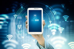 Internet Wifi Concept. The conceptual image of smart phone search for internet network based on wifi signal Royalty Free Stock Photos