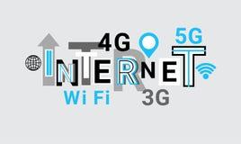Internet Wifi, fondo del modello dell'estratto dell'insegna di web del collegamento 3g Fotografia Stock