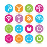 Internet wifi icons. Collection of 16 internet wifi icons in colorful buttons stock illustration