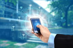 Internet Wifi Network. The conceptual image of smart phone search for internet network based on wifi signal Royalty Free Stock Photography