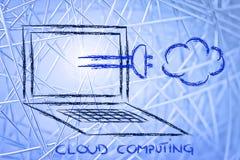 Internet, wolk gegevensverwerking en gegevensoverdracht royalty-vrije stock afbeeldingen