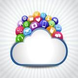 Internet-wolk met pictogrammen Stock Afbeelding