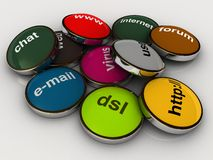 Internet words. Colorful internet words on metal rosettes Stock Images