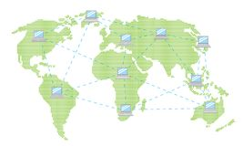 Internet world. The world is connected by internet Stock Photo