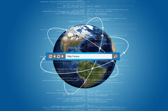 Internet World. Concept of internet connects information from all over the world. With address bar on top of the picture Stock Photo