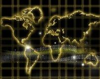 Internet and world map. Shine globe world map and internet stock illustration