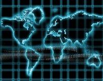 Internet-world map. Abstract blue globe world map and internet stock illustration