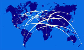 Internet on world map Royalty Free Stock Photo