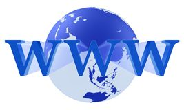 Internet WWW Concept. WWW sign on a globe. Internet WWW Concept Stock Photo