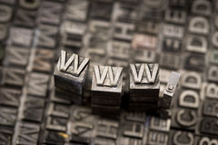 Internet www website by letterpress Stock Image