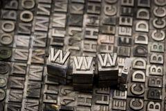 Internet www website by letterpress Royalty Free Stock Photo
