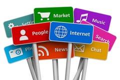 Internet y concepto social de los media Imagen de archivo libre de regalías