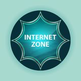 Internet Zone magical glassy sunburst blue button sky blue background stock illustration