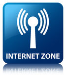 Internet zone (wlan network) blue square button Royalty Free Stock Images