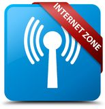 Internet zone (wlan network) cyan blue square button red ribbon Stock Images