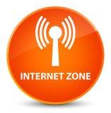 Internet zone (wlan network) elegant orange round button Stock Image