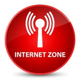 Internet zone (wlan network) elegant red round button Royalty Free Stock Images