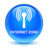Internet zone (wlan network) glassy cyan blue round button Stock Photos