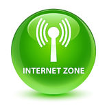 Internet zone (wlan network) glassy green round button Royalty Free Stock Image