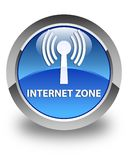 Internet zone (wlan network) glossy blue round button Stock Images