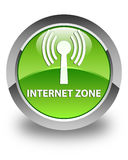 Internet zone (wlan network) glossy green round button Stock Images