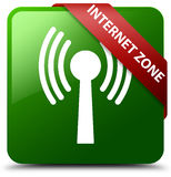 Internet zone wlan network green square button Stock Image