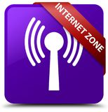 Internet zone (wlan network) purple square button red ribbon in Royalty Free Stock Photo