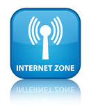 Internet zone (wlan network) special cyan blue square button Stock Images