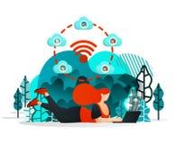 Internet zu teilen von den Sachen Mädchen oder Leute können mit Freund überall unter Verwendung des Internets und Wifi-Netzes arb vektor abbildung