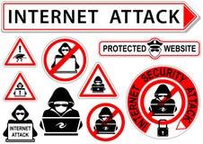 Interneta ataka ikony lub znaki Zdjęcie Royalty Free