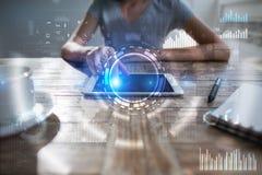 Interneta, biznesu i technologii pojęcie, Ikon, diagramów i wykresów tło, Obrazy Stock