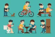 Interneta i smartphone nałóg ilustracji