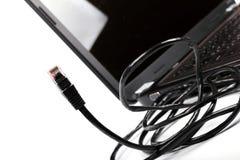 Interneta laptop kabel i zdjęcia stock