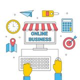 Internetaffär från datoren som shoppar online-lagerreklamfilmen royaltyfri illustrationer