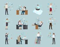 Internetaffärsuppsättning av manliga och kvinnliga arbetare royaltyfri illustrationer