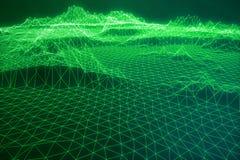 Internetanschluss der Illustration 3D, abstrakte Richtung des Wissenschaft und Technik Konzeptbildcyberspace-Landschaftsgitter Stockbilder