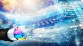 Internetanschluss mit Glasfaser Konzept des schnellen Internets stockfotografie