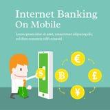 Internetbankrörelsen på mobil Arkivfoto