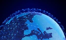 Internetbegrepp av den globala affären, communic anslutningssymboler Arkivfoton