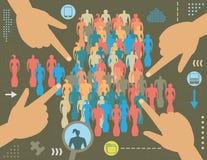 Internetbegrepp för social teknik Arkivbild