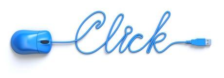Internetbegrepp med den blå musen och kabel Arkivfoton