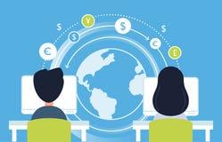 Internetbetalning och att arbeta direktanslutet och illustration för begrepp för valutaflödesAnalytics för designeps för 10 bakgr Royaltyfria Bilder